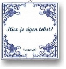 Delfts Blauw tegeltje met logo