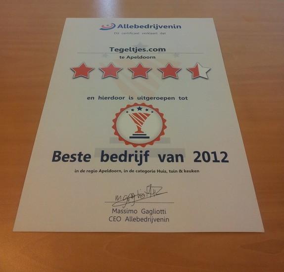 Tegeltjes.com award 2012